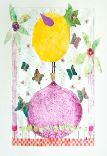 Print from cutting board yellow bird